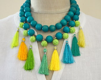 Multi tassel necklace Long tassel necklace Turquoise wood bead necklace with tassle Convertible layer necklace Boho jewelry Colorful jewelry
