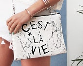 C'est La Vie portfolio clutch bag
