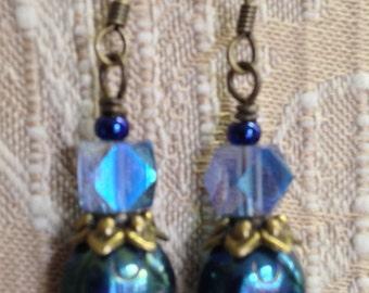 Metallic Green Blue Iris Scarab Czech Glass Insect Beads Czech Republic Glass Beads 14mm Earrings