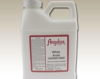 White Angelus Acrylic Leather Paint - 16 oz Bottle #6-729005