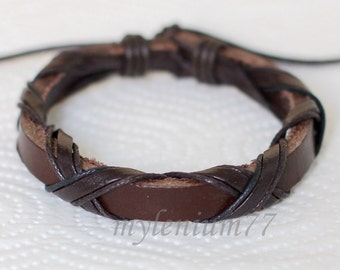 435 Men's brown leather bracelet Leather band bracelet Leather cords bracelet Wrapped bracelet Fashion jewelry Birthday gift For men & women