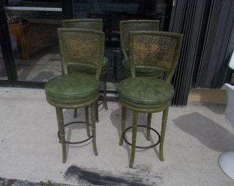 Set/4 Palm Beach Faux Bamboo Resort cane back swivel bar stools