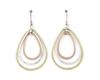Simple Triple Oval Tear Drops Dangle Drop Earrings,B16