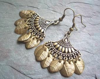 """Antique Brass Earrings / Chandelier / Charms / Leaf / Drop / Dangle - 2"""" long - E33"""