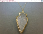 35% off HUGE Sale Clear Arrowhead layered in 24k Gold - Arrowhead Necklace - 14k gold fill chain - Arrowhead pendant