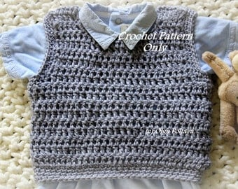Baby Boy Pullover Vest, Crochet Pattern, Size 3-6 Months, Easy to Crochet, Instant PDF Download