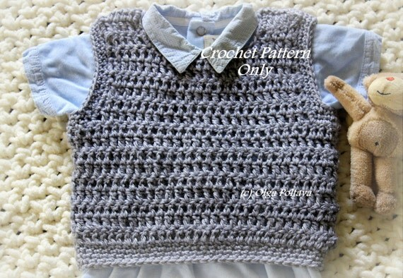 Baby Boy Pullover Vest Crochet Pattern Size 3-6 Months Easy
