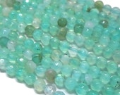 Faceted Dyed Agate Beads, Cyan Blue, 8mm Round - 15 inch strand - eGR-AG58019-8