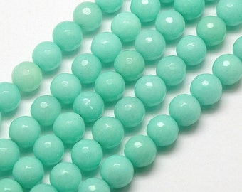 Faceted Jade Beads, Aqua, 6mm Round - 15 Inch Strand - eJFR-G01-6