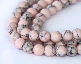 Magnesite Beads, Blush Pink, 6mm Round - 15 inch Strand - eGR-MG014-6