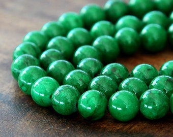Mountain Jade Beads, Dark Green, 8mm Round - 15 Inch Strand - eMJR-G14-8