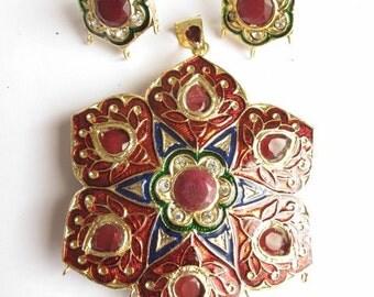 Beautiful meenakari pendant with navratan and matching earrings set in star shape