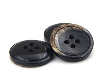 6 pcs 0.59~0.79 inch Retro Black Concave 4 Hole Resin Shell Buttons for Suits