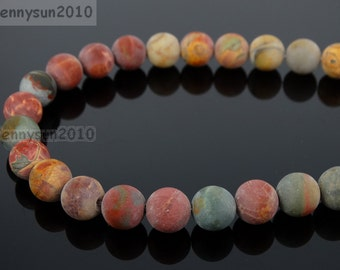 Natural Matte Picasso Jasper Frosted Gemstones 4mm 6mm 8mm 10mm 12mm Round Loose Spacer Beads 15'' Strand Jewelry Design