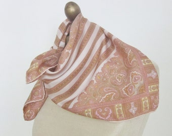 Vintage silk scarf PAISLEY  1960s hand rolled
