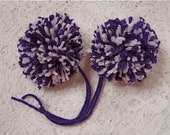 Purple and White Yarn Pom Poms Handmade - Set of 2 Large