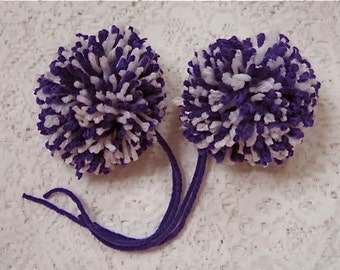 Purple and White Yarn Pom Poms Handmade - Set of 2 Large Hat Pom Poms Package Ties
