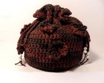 Crochet purse-bags and purses-free shipping-crochet drawstring bucket bag-boho casual bag-handmade-beads-handbag