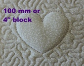 EMBROIDERY PATTERN 150 mm in-the-hoop quilt block - trapunto heart for 100 mm hoop