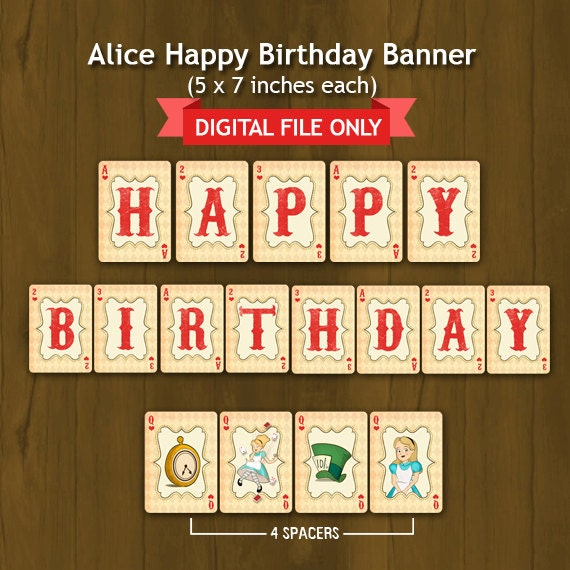 Alice In Wonderland Printable Happy By SplashboxPrintables