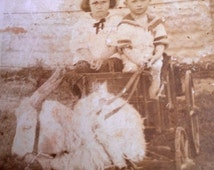 Kids in Goat Cart Real Photo Postcard Vintage RPPC