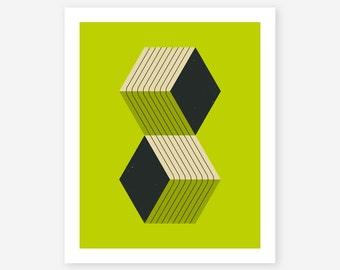 Giclée fine art print, Modern, Minimal Geometric Wall Art for the home decor by Jazzberry Blue, CUBES (8)