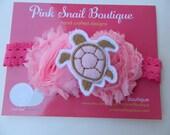 Sea Turtle Feltie Pink Shabby Flower Hair Bow Accessory Stretch Elastic Headband *Ready to Ship