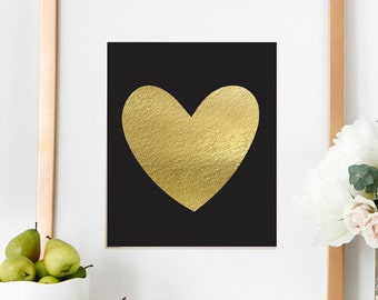 PRINTABLE Fashionable Solid Faux Gold Heart Girls Bedroom Decor Home Artwork