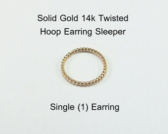 Yellow Gold 14k solid, not plated or filled TWISTED Hoop Earring 20 ga Cartilage Tragus Helix Nose Ring Tiny Catchless Seamless Sleeper