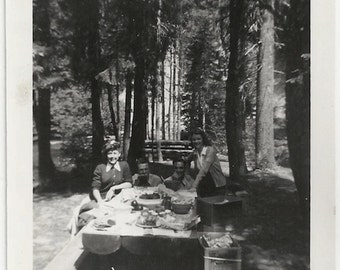 Old Photo People having a Picnic 1940s Photograph snapshot vintage