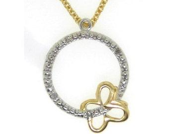 Yellow Gold Butterfly Circle Diamond pendant