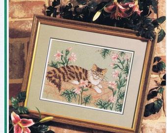 Tabathas Garden Cross Stitch chart Cat Laying in a Garden