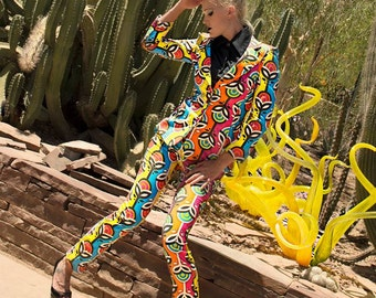 Oliver Hibert Print Suit/ Psychedelic Suit/ Custom Print Suit/ Oliver Hibert Suit/ Through the Keyhole Suit/ Custom Suit