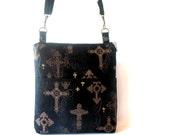 Black hip bag, gothic cross bag, black crossbody bag, black zipper bag, gold cross bag, womens hip bag, black purse, black long strap bag