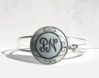 Hand Painted Bracelet Personalized  Bracelet, Charm Initial Bracelet, Letter Art Personalized Jewelry, Handmade & Designed by Artdora