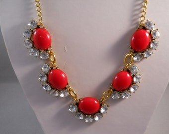 SALE Red and Clear Crystal Pendants Necklace on a Gold Tone Chain
