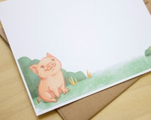 Cute Pig Stationery - 6 Flat Note Cards with Envelopes and Stickers (Set)