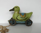 Duck Pull Toy, Vintage Wood Duck, Animal, Home Decor, Nursery decor