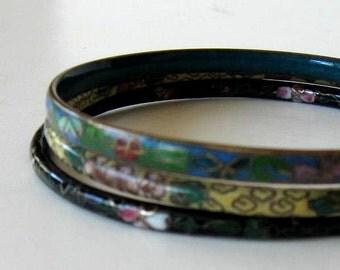 SALE, Set of 3 vintage Cloisonne bangle bracelets, Woman's accessory, Asian Jewelry, gift idea