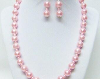 10 & 4mm Vintage Rose Glass Pearl Necklace/Bracelet/Earrings Set
