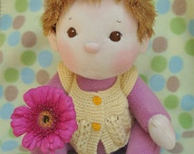 """SALE! Fretta's BeBe Cheeks Doll. Brown Eyes, Med.Brown Yarn Hair. Jointed 40.5 cm /16"""" Soft Sculpture Baby Doll. Child Friendly Doll."""