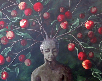 Surreal Fine Art Painting,Original Painting, Fine Art for Sale, Original Art, Art Painting, Apple Tree, Original Surreal Fine Art Painting