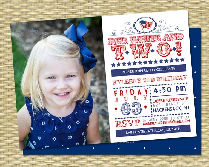 Red White and Two Birthday Invitation July 4th Birthday Red – 4th Birthday Invitations