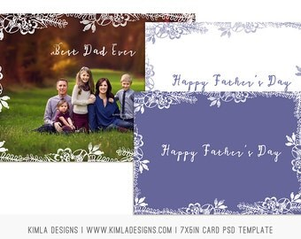 Father's Day 7x5in Card PSD Template