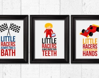 Little Racers Bathroom Rules, Race Cars Decor, Boys Prints, Kids Wall Art,