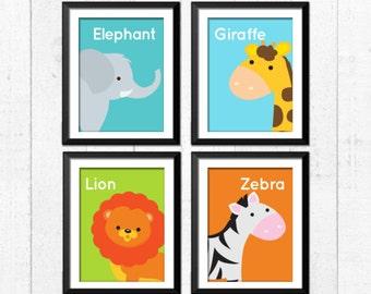 Jungle Animals prints, zebra lion elephant giraffe Art,  Kids Decor, Kids Wall Art, Baby Decor, Nursery prints, jungle nursery, A-4011