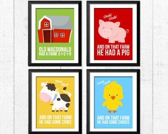 Farm animal, old macdonald had a farm nursery prints,  nursery playroom art prints, kids art, babies art, bedroom decor, farm animals art