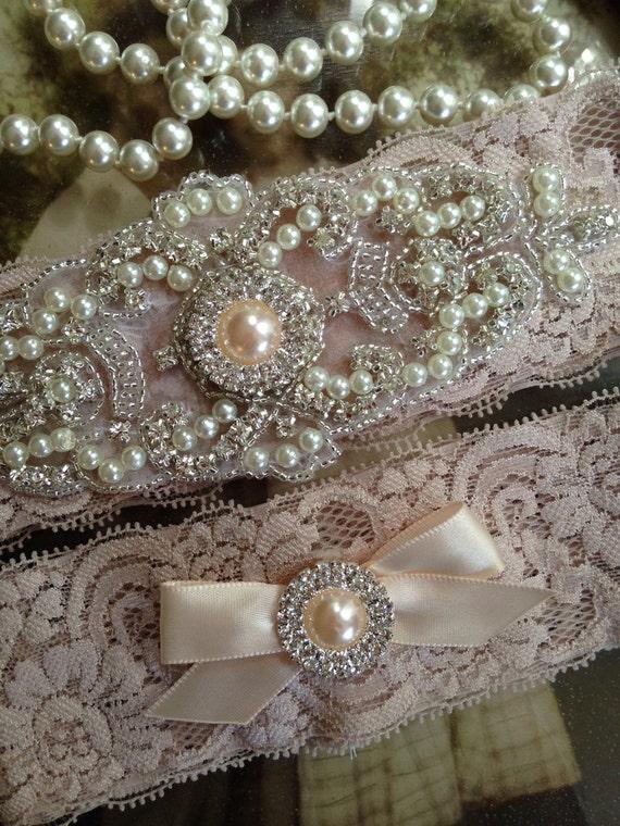 Wedding Garter-Garter-Garters-Champagne-Rhinestone Garter-Blush-champagne garter-blush garter-lace-bridal garter-accessories-pearl-vintage