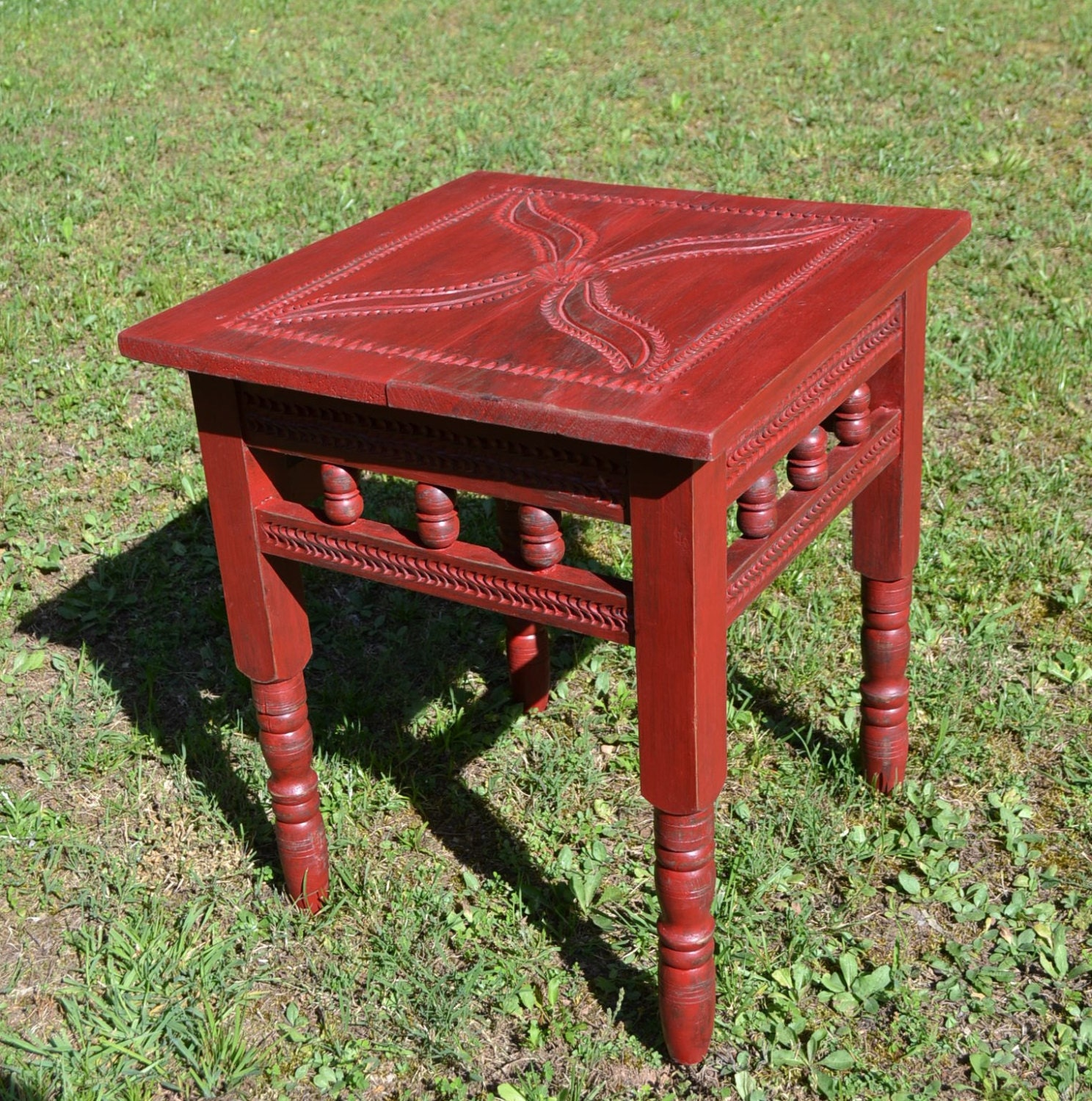 Carved Wood Side Table ~ Vintage table carved wood red end side coffee recycle