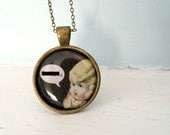 Photo Pendant Necklace Antique Porcelain Doll Named Claudia Who Did Not Tolerate Censorship Mature Listing